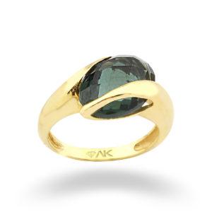 Yeşil Topaz Oval Doğal Taşli Tek Taş Altın Yüzük 14 Ayar