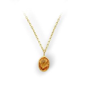 Sitrin Oval Doğal Taş Altın Kolye