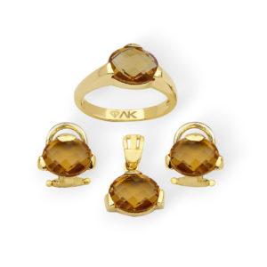 Zultanit Doğal Taş Altın Mini Set