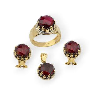 Granat Doğal Taş Altın Mini Set