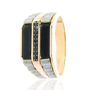 Kare Desenli Altın Erkek Yüzüğü 14 Ayar