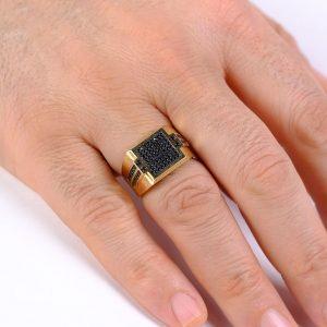 Kare Desenli Erkek Yüzüğü 14 Ayar