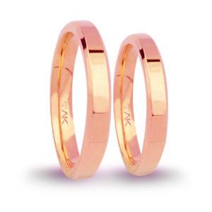 3mm Klasik Yanı Pahlı Flat Roz Altın Alyans