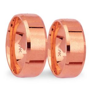 8mm Klasik Yanı Pahlı Flat Roz Altın Alyans
