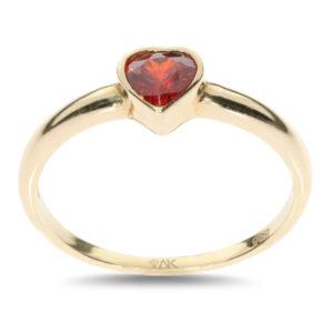Granat Kalpli Doğal Taşli Tek Taş Altın Yüzük 14 Ayar