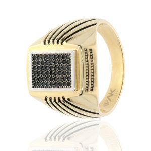 Desenli Kare Altın Erkek Yüzüğü 14 Ayar