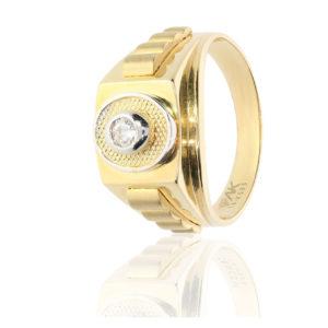 Tek Taş Altın Erkek Yüzüğü 14 Ayar