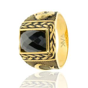 Atatürk ve Bayraklı Altın Erkek Yüzüğü 14 Ayar