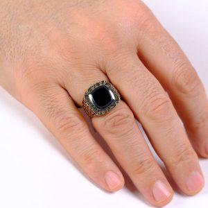 Desenli Altın Erkek Yüzüğü 14 Ayar
