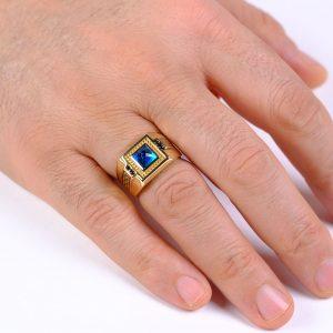Turquaz Altın Erkek Yüzüğü 14 Ayar