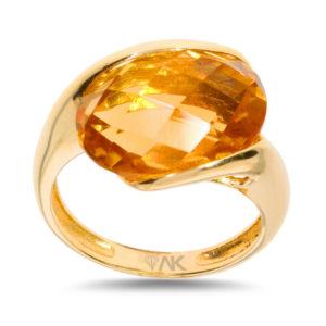 Sitrin Oval Taşli Doğal Tek Taş Altın Yüzük 14 Ayar