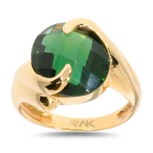 Yeşil Topaz Doğal Taşli Tek Taş Altın Yüzük 14 Ayar