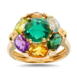 Çok Renkli Doğal Taşli Altın Yüzük 14 Ayar