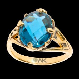Mavi Topaz Doğal Taşlı Tek Taş Altın Yüzük 14 Ayar
