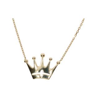 14 Ayar Altın Kral Tacı Simgeli Uçlu Kolye