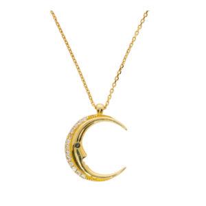 14 Ayar Altın Ay Simgeli Fantezi Kolye