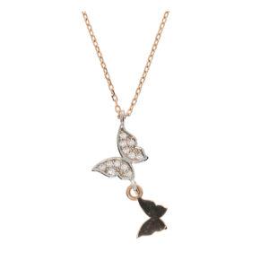 14 Ayar Altın Kelebek Simgeli Uçlu Kolye
