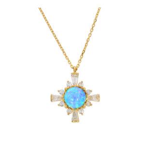 14 Ayar Mavi Opal Taşlı Uçlu Kolye