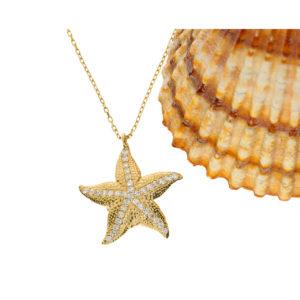 14 Ayar Altın Deniz Yıldızı Simgeli Fantezi Kolye