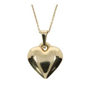 14 Ayar Altın Kalp Simgeli Klasik Kolye