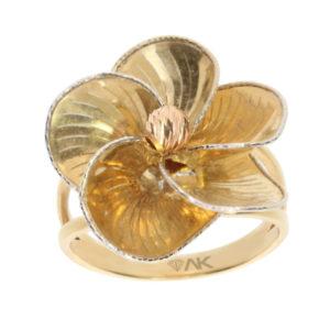 14 Ayar Altın Çiçek Simgeli Fantezi Yüzük