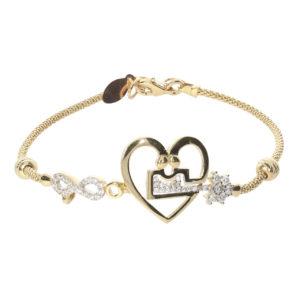 Label 14 Ayar Altın Kalbimin Anahtarı Simgeli Bileklik