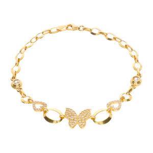 14 Ayar Altın Kelebek Simgeli Künye Bileklik