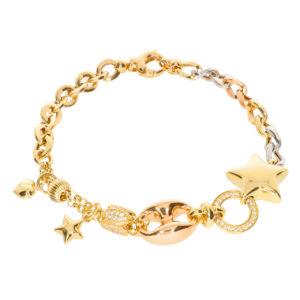 Cetaş 14 Ayar Altın Yıldız Simgeli İtalyan Bileklik