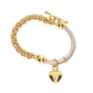 Cetaş 14 Ayar Altın Kalp Simgeli İtalyan Kelepçe Bileklik