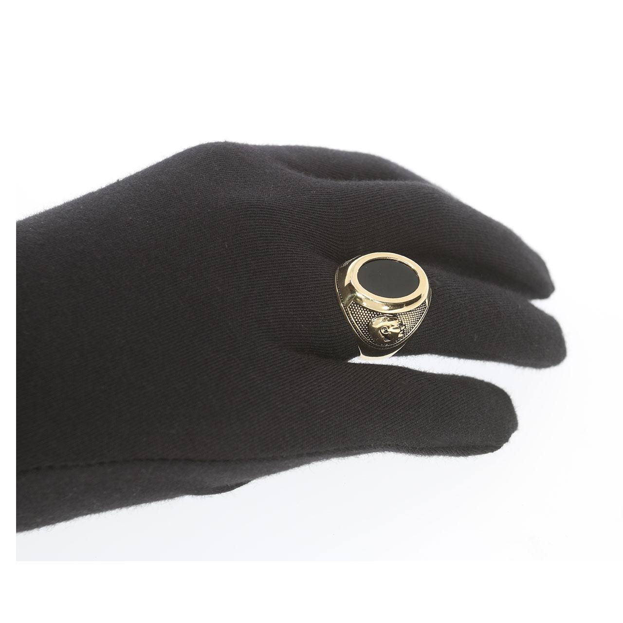 Siyah Taşlı Atatürk ve Türk Bayraklı Altın Yüzük 14 Ayar
