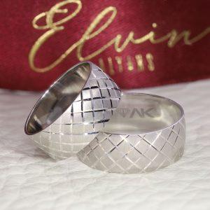 8mm Baklava Desenli Gümüş Alyans