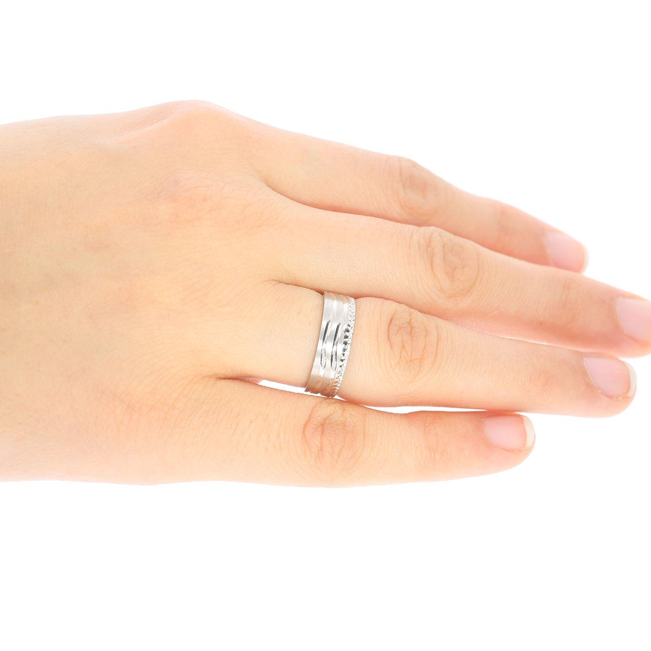 6mm Flat Oluklu Gümüş Alyans