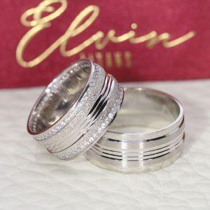 9mm Kabartmalı Simli Gümüş Alyans