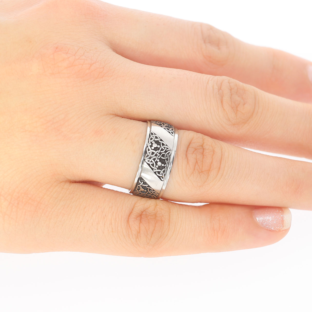 8.50mm İşlemeli Gümüş Alyans