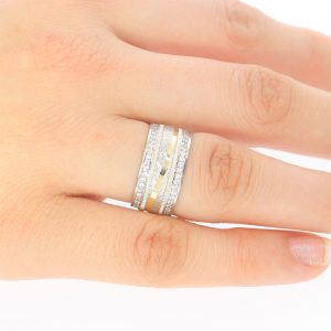 8,90mm Kabartmalı Simli Gümüş Alyans