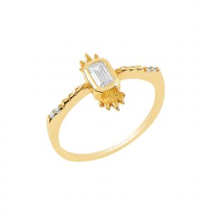 Altın Minimal Prenses Yüzük