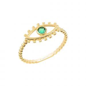 Altın Minimal Yeşil Taşlı Göz Yüzük