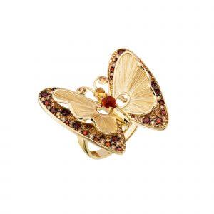 Taşlı Altın Büyük Kelebek Yüzük