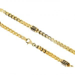 Versace Desenli Unisex Altın Kolye 14 Ayar