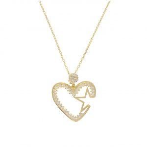 Taşlı Kalpli Yıldızlı Altın Kolye 8 Ayar