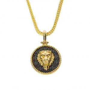 Aslan Siyah Mineli Madalyon Kolye 14 Ayar