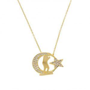 Atatürk Ay Yıldız Altın Kolye 8 Ayar