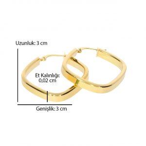 3cm Kare Altın Küpe 14 Ayar