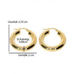 2,10cm Altın Halka Küpe 14 Ayar