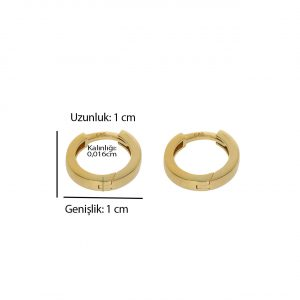 1cm Altın Halka Küpe 14 Ayar