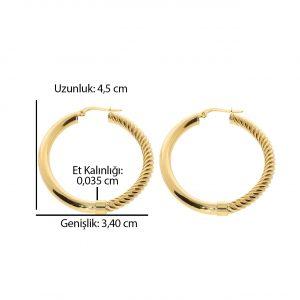 4.50cm Burgulu Oval Altın Halka Küpe 14 Ayar