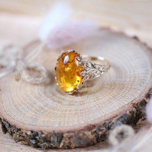 Kehribar Doğal Tek Taş Altın Yüzük 14 Ayar