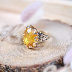 Sitrin Taşli Doğal Tek Taş Altın Yüzük 14 Ayar
