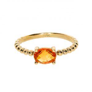 Sitrin Taşlı Doğal Tek Taş Altın Yüzük 14 Ayar