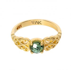 Yeşil Turmalin Doğal Taşli Altın Yüzük 14 Ayar